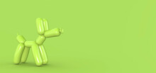 Green Dog Balloons Face To Face Isolated On Green. Copy Space. 3D Rendering