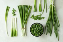 Fresh Green Onion On White Textured Background