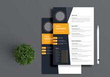 Professional Resume And Cover Letter Layout With Orange Accents