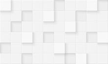 3d Seamless Cubes Pattern. White Ceramic Tile Background. Abstract Square Mosaic.