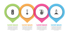 Set Chevron, Sapper Shovel, Hand Grenade And Soldier Grave. Business Infographic Template. Vector