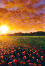 Oil Painting Of A Red Poppy Field Flower. Summer Flowers Red Field. Modern Art - Impressionism, Texture Paintings