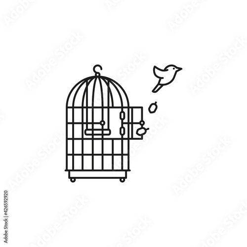 Tablou Canvas Canary bird escaping from birdcage vector line icon, Freedom outline symbol