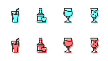 Set Line Wine Glass, Glass Of Juice, Whiskey Bottle And And Beer Icon. Vector