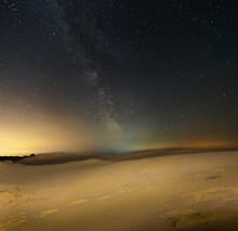 Sandy Desert Under A Starry Sky With Milky Way, Night Natural Scene