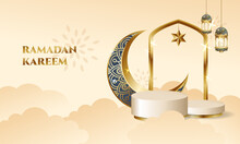 Ramadan Podium Stage For Display Product With Crescent Moon And Lantern Decoration. Islamic Theme Vector Background.