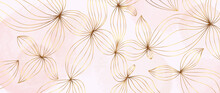 Gold Abstract Flower Line Arts Background Vector. Luxury Pink Watercolor Wallpaper Design For Prints, Wall Arts And Home Decoration, Cover And Packaging Design.