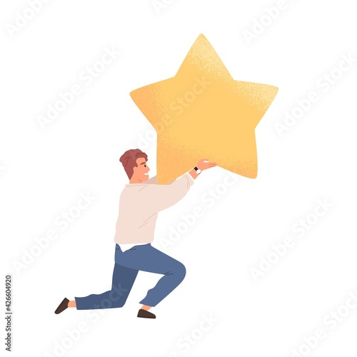 Happy customer giving golden star for good products and service. Concept of positive feedback and review. Client rating app or website in survey. Colored flat vector illustration isolated on white