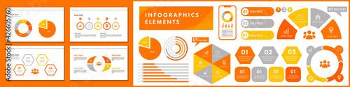 Slika na platnu ビジネスシーンで役に立つインフォグラフィック、いろいろなグラフのベクターイラスト、ピクトグラムやアイコンのセット