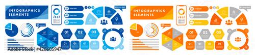 Fotografija ビジネスシーンで役に立つインフォグラフィック、いろいろなグラフのベクターイラスト、ピクトグラムやアイコンのセット