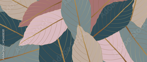 Fotografia, Obraz Tropical leaves background vector with golden line art texture