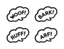 Dog Bark Animal Sound Effect Text In A Speech Bubble Balloon Clipart Set. Cartoon Comics And Lettering. Simple Black And White Outline Flat Vector Illustration Design On White Background.