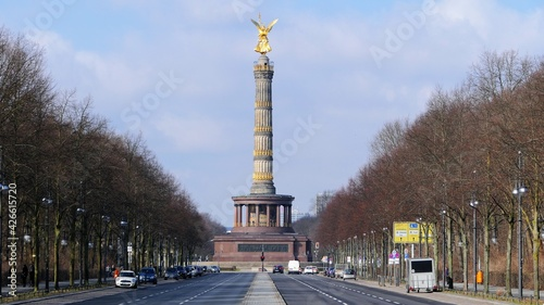 Victory Column in Berlin with the street in front, Germany