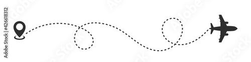 Obraz na plátně Airplane line path vector illustration