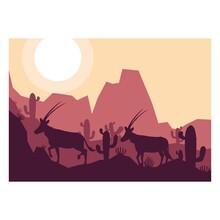 Arabian Oryx Antelope Animal Silhouette Desert Savanna Landscape Flat Design Vector Illustration