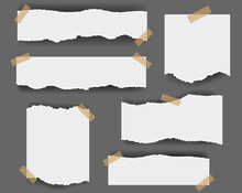 Ripped Paper Isolated Grey Background With Gradient Mesh, Vector Illustration