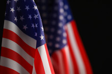 National Flags Of America On Black Background, Space For Text. Memorial Day Celebration