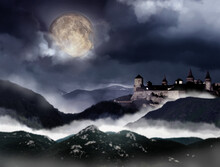 Fantasy World. Mystical Castle And Mountains Covering With Fog In Night