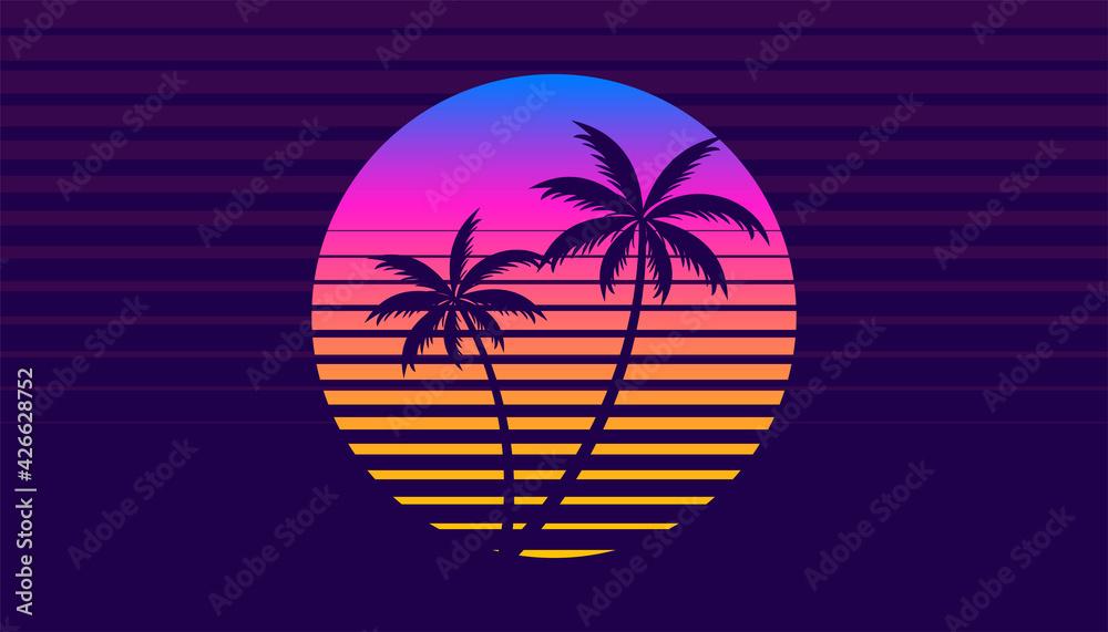 Fototapeta classic retro 80s style tropical sunset with palm tree