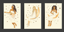 Celestial African American Woman And Cat Sacred Astrology Boho Esoteric Art. Moon And Star Magic Girl Golden Card Set.