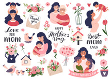 Mothers Day Set With Mom And Daughter, Calligraphy Text, Carnation Flowers. Hand Drawn Vector Illustration.