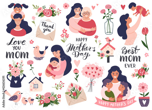 Photographie Mothers day set with mom and daughter, calligraphy text, carnation flowers