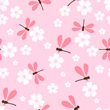 Seamless Pattern With Cherry Blossom Flowers And Dragonflies On Pink Background Vector Illustration.