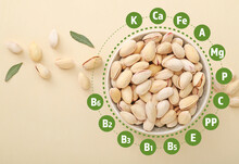 Healthy Pistachio Nuts With Nutrition Facts On Light Background