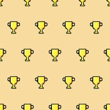 Cup Wallpaper. Vector Ornamen In Yellow Color.