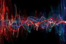 Abstract Glowing Lines Background. Wavy Form Neon Line Structure. Sound Wave Rhythm Background. Fire Wave Flames Digital Sound Wave Equalizer, Technology And Earthquake Wave Concept