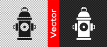 Black Fire Hydrant Icon Isolated On Transparent Background. Vector