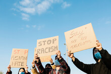 Asian People Protest On The Street Against Racism - Group Of Multiracial Demonstrators From Different Asian Countries Fight For Equal Rights - Stop Asian Hate Fight Campaign Concept