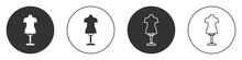 Black Mannequin Icon Isolated On White Background. Tailor Dummy. Circle Button. Vector