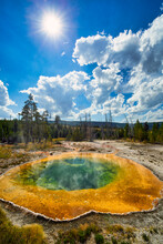 Morning Glory Pool In The Yellowstone National Park. Wyoming. USA.