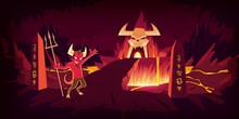 Hell Landscape, Infernal Stone Cave Cartoon