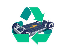 Modern Electric Car Chassis Design Battery Modular Platform Skateboard Module Pack Board With Green Recycling Symbol Sign.  Recycle Vehicle Components Battery Cell Pack, Motor Powertrain, Controller.