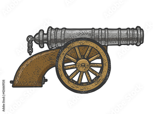 Canvas Print Vintage old cannon sketch raster illustration