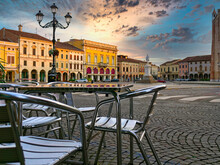 Montagnana, ITALY - August 5, 2019: Evening City In Montagnana's Central Square