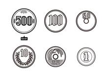 日本のお金のセット. 新500円硬貨. 100円. 50円. 10円. 5円. 1円. イラスト. ベクター.  Japanese Money Set. New 500 Yen Coin. 100 Yen. 50 Yen. 10 Yen. 5 Yen. 1 Yen. Illustration. Vector.