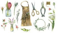 Watercolor Set Of Florisat Tools - Flowers, Scissors, Apron, Wreaths, Pruning Shears, Bouquets, Thread, Rope - Hand-drawn.