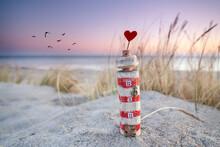 Romantischer Strand Am Abend