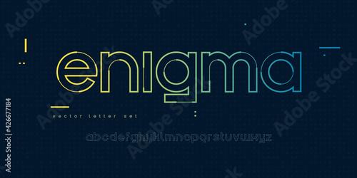 Fotografie, Tablou Vector linear lowercase letter set, alphabet, font, typography