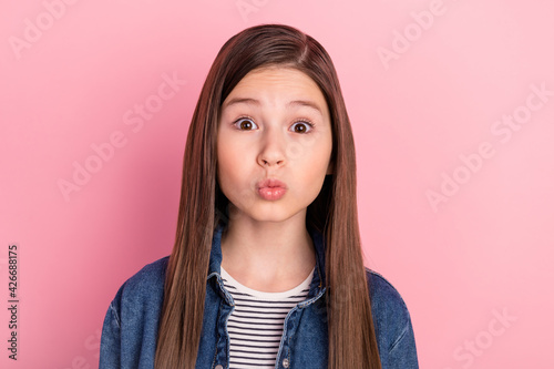 Obraz na plátně Photo portrait of girl in jeans jacket pouted lips sending air kiss cute sweet i