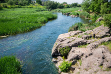 River Flows Between Rocky Shores. Plants And Undersized Flowers Grow On Stones. River Overgrown With Reeds. Hight Quality. In The Distance You Can See The Roof Of The House.water Has A Bluish Tint