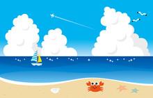 砂浜にカニ、夏らしい入道雲とカモメ、ヨット。正面から見た海