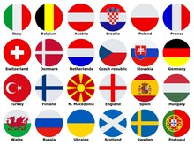 Flags Of Participating Teams With English Text