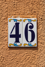 Number 46, Beautiful House Number On Painted Ceramic Tiles