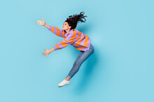 Full Length Body Size View Of Pretty Talented Cheerful Wavy-haired Girl Jumping Dancing Moving Hobby Isolated Over Bright Blue Color Background