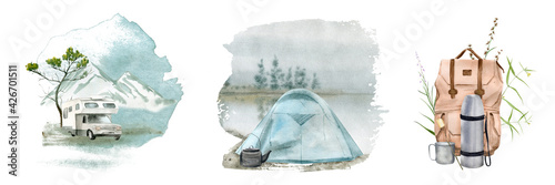 Stampa su Tela Watercolor illustration of a camping tent. Perfect for logo