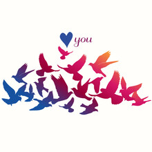 Card Of The Birds. Can Be Used For Postcard, Valentine Card, Wedding Invitation. Silhouette Illustration.